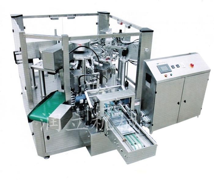 l 全自动完成送料、可自动上袋、打印生产日期、开袋、计量、填充、热封、输出成品。 l 润立R L系列全自动给袋式包装机是自动化生产,直接代替人工包装生产的先进设备,使企业实现了包装自动化,从而提高生产效率,大幅降低生产成本。 l 该机与物料或包装袋接触的零部件采用不锈钢或其他符合食品卫生要求材料加工,保证食品的卫生和安全,符合食品卫生标准。 l 采用进口PLC系统控制+触摸屏HMI人机界面系统控制,可自动调节气动元件的角度值和时间,操作方便简单。 l 采用最稳定的凸轮机械传动技术,使设备运行稳定,故障率低